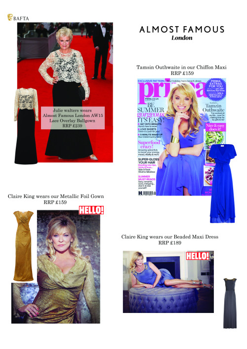 Have you seen us in the press this month?We're HOT HOT HOT!On the cover of this month's #PrimaMagazine Tamzin Outhwaite is wearing our SS15 Chiffon Maxi Dress RRP £159.This week's hellomagazineuk you'll see Claire King lounging over a double page spread wearing our SS15 Beaded Maxi Dress RRP £189.  She is also seen wearing our AW15 Metallic Foil Gown RRP £159 arriving in stores soon!To top it off the amazingly talented and wonderful national treasure that is Julie Walters elegantly waltzed the red carpet this week in our AW15 Lace Overlay Ball Gown RRP £239 arriving in stores soon!#tamzinouthwaite #claireking #juliewalters #hello! #Prima #Baftas #Dresses