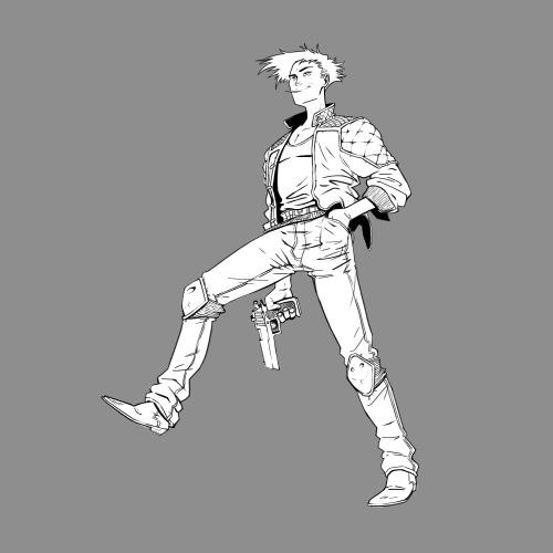 Random Cool dude…basically turned into Spike Spiegel… #digital art#digital drawing#Character Design#sketch#jff#cowboy bebop#spike spiegel#guns