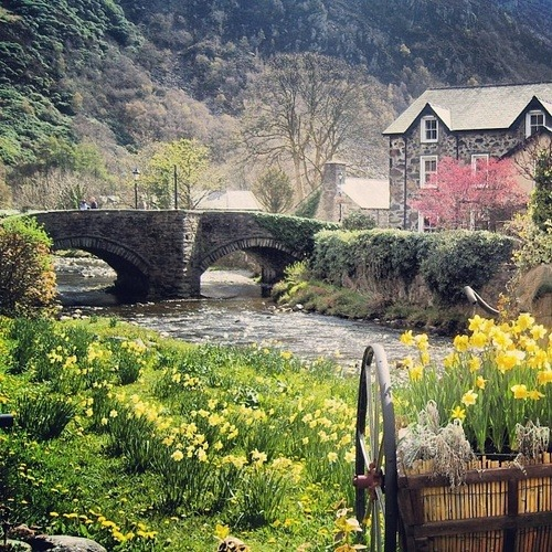 Beddgelert (English: Gelert's Grave), a picturesque village in Snowdonia,  North Wales