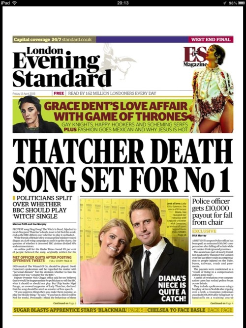 Tonight's Evening Standard Front Page
