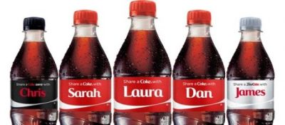 "Coke Charms UK Consumers with Personalized Bottles Coca-Cola has launched its brand new ""Share a Coke"" campaign across Europe, which seems to be riding on the coattails of ""Open Happiness."" For promotional product junkies, what's most exciting about Coke's new ad effort is that it's providing customers with truly customized drinkware! According to Marketing Week UK, Coke has replaced its familiar branding with ""150 of the UK's most popular names across 100 million packs."" Read more —>"