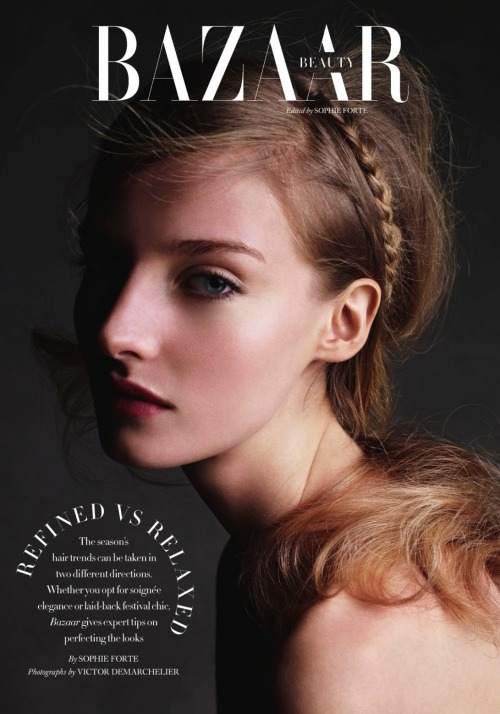 thebeautymodel:  Amanda Norgaard by Victor Demarchelier for Harper's Bazaar UK June 2013.