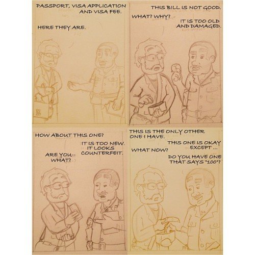 An un-inked and poorly photographed, very VERY rough version of a comic strip I finished drawing tonight. Have a few of these strips drawn now. What remains is to scan them, and ink/clean them up.  Goal is to have a catalog of 24 finished strips for September 1st. http://bit.ly/16HWCQ4