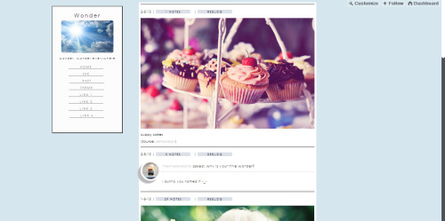 themesbydanie:  Wonder . theme go here for the code : here live preview : here customisable left sidebar go back up button 4 custom links like if using or if you like it :) leave credits!