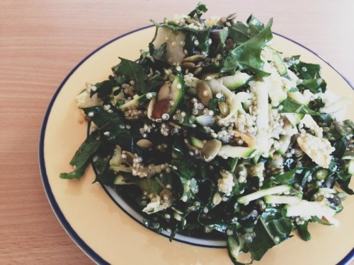 A generous pile of kale, quinoa, pear, pepitas and zucchini. Olive oil, white vinegar and honey to set it off.