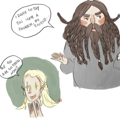 I've got this headcanon where Legolas just can help himself and try every time to made Gimli more stylish and fabulous, like something he inherited from his father, the most fabulous of all.  Sorry for the bad bad english.