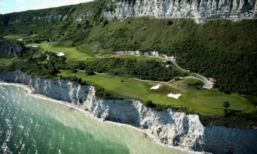 An aerial view of the course ahead of the Volvo World Match Play Championship at Thracian Cliffs Golf & Beach Resort in Kavarna, Bulgaria. There could be a few lost balls? Photograph: Warren Little/Getty Images