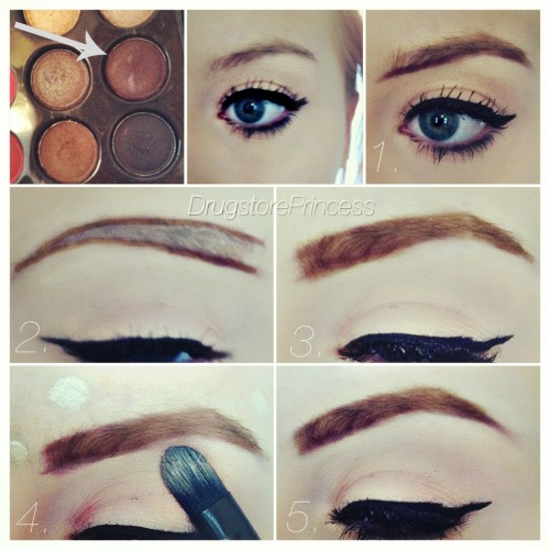 "DrugstorePrincess' Eyebrow Tutorial This is how I fill in my brows.  Now that I have red hair, it is a whole new experience for me, trying to change the color as well as maintain a solid shape.   What I Use: Matte Eyeshadow (ones shown are from my 88 Matte Palette, you can purchase one here) Small angled eyeliner brush… the one I use is from ELF Studio collection, and it costs $3 Any concealer that either matches your foundation or is slightly lighter, to give your brows a natural highlight (I use Hard Candy Glamoflauge) A flat concealer brush, for blending in your concealer. Brow Gel or clear mascara (optional, for setting) How I Do It: Put shadow onto your angled brush, and line underneath your brow. Stick close to your natural eyebrow, unless you're intending on adding a lot of thickness.  I have extended mine out past my natural brow inwards, to add more length to them.  (I spent years misguidedly plucking in between my brows which caused them to now be very far apart!) Create another line above your brow.  If you want to create the ""faded"" effect that many gurus do with their brows, draw your top line much lighter than your bottom line (I'm not doing this) Use your brush to blend the color evenly throughout your brow.  Make sure you are doing short little strokes, upwards and outwards at an angle.  This will help the color look as natural as possible. Now onto concealer - use your concealer brush to apply concealer as a sort of ""corrector"" all around your brow.  This helps clean up any messiness, and can help you reshape your brows if you went a little too crazy on one or the other.  I recommend that you set your concealer with powder to keep it in place! Now you're pretty much done - apply a quick layer of brow gel or clear mascara over top to keep the color in place all day.  I normally never see any color fade or smudging, so I often skip this step. Remember, practice makes perfect!  And you never want to stray too far from your brow's natural shape.  This technique may not be for everybody, and it's up to you to find whatever method that looks best on your brows!  Follow me on Instagram @DrugstorePrincess to see posts like these first!"