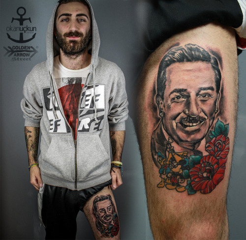 tattoo walt disney color portrait