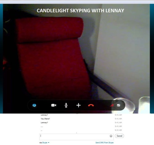 Lennay still has a desktop computer so we the webcam mobility is pretty limited. She's probably busy making dinner right now or something.