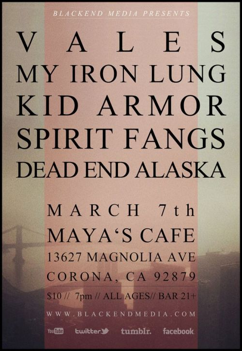 myironlungband:  Our US tour with Vales starts today! See you in Corona!