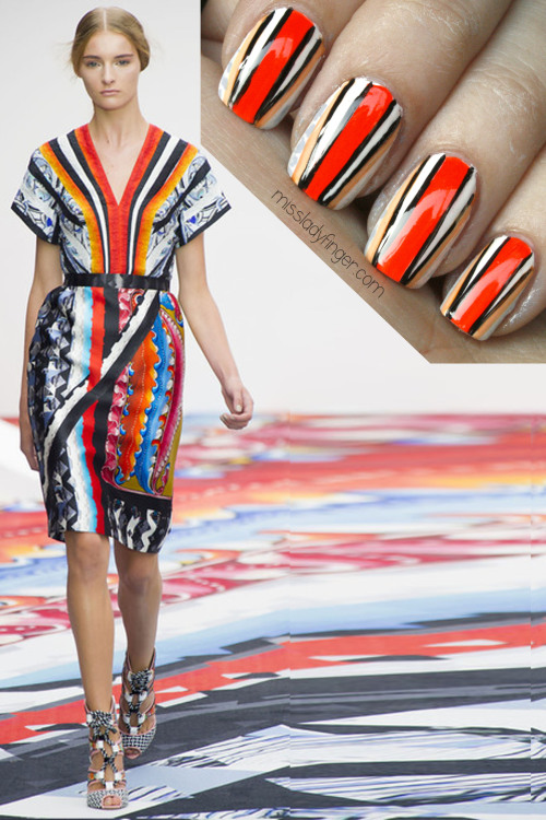 MANICURE MUSE: Peter Pilotto Spring '13 Behold! My Coachella nail. Now who's coming with me? How to extend the lifespan of your Ladyfingers and a tutorial right this way…