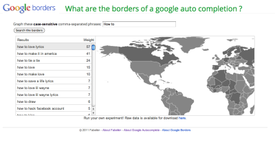 Zeitgeist Google Borders - mapping the borders of google's autocomplete (note: the site is disabled now)