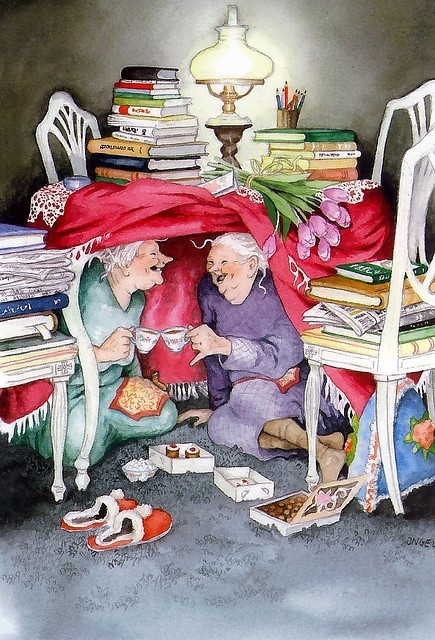 Afternoon of books, tea and cakes / Tarde de libros, té y pastas (ilustración de Inge Löök)