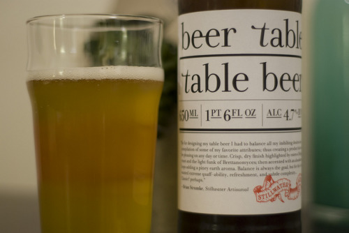 Stillwater Artisanal | Table Beer This one caught us off guard, like an unprotected left hook. It made us see stars. Typical nose of hay, straw, and grassy notes. Tastes hones in on citrus, apricots, honey, and a big floral component. However it finishes bitter and rather harsh. A crazy juxtaposition of profiles that somehow lean more toward tasty rather then not.  Note - do not pour the entire bottle out, lots of sediment in the bottom and will cloud up your beer.
