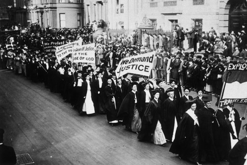 Women in academic dress marching in a suffrage parade. New York City, 1910 photo by Jessie Tarbox