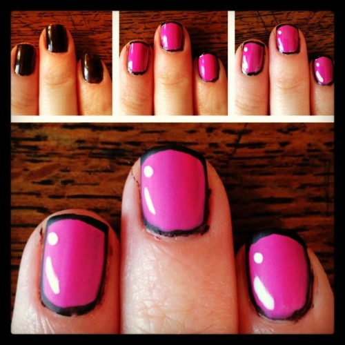 Cartoon nails! 1. Paint nails black 2. Outline by painting pink almost to edges and adding a top line 3. Add white dot and swipe in corner 4. Matte top coat! #nailart #outlinenails #notd #cartoonnails