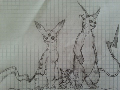 Mouse Pokémon family sketch art. Raichu, Pikachu and Pichu's.
