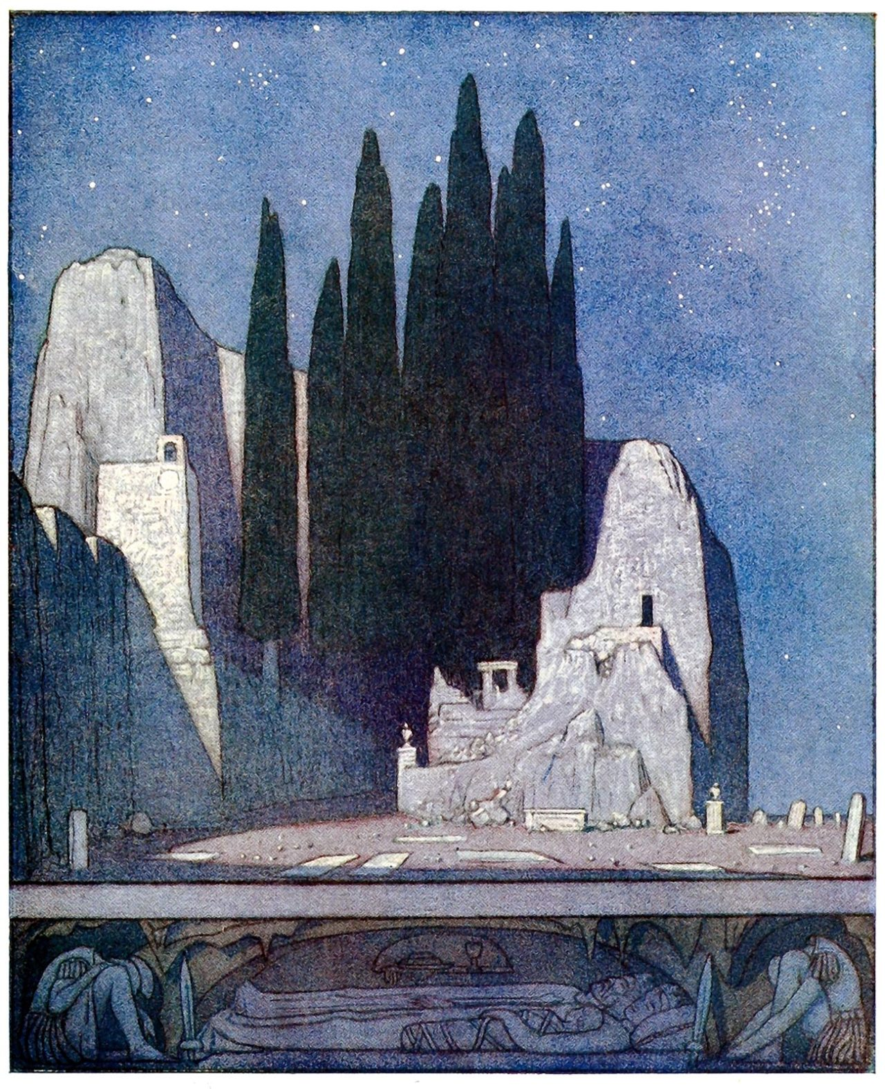 oldbookillustrations:  The graveyard.  Frederick Cayley Robinson, from The blue bird, by  Maurice Maeterlinck, New York, 1920.  (Source: archive.org)
