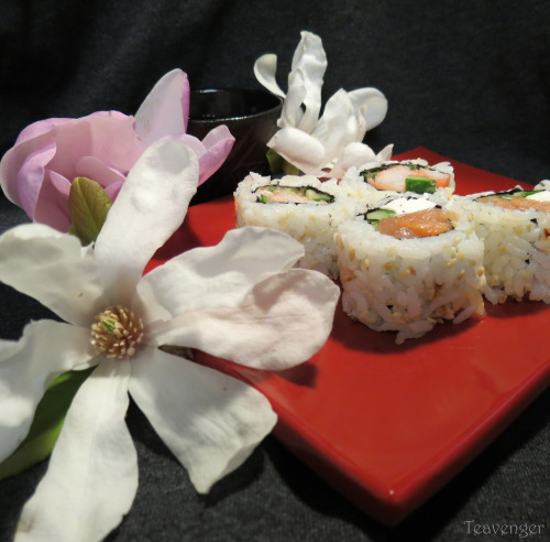 Magnolia flowers and sushi