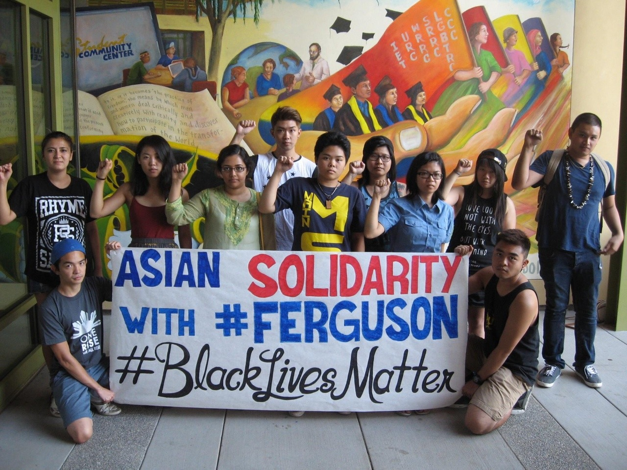 jazzy-w:    Members of the Asian American community at UC Davis are taking a stand in solidarity with the people of Ferguson and their continued struggle for survival in the face of police brutality. All black lives matter.
