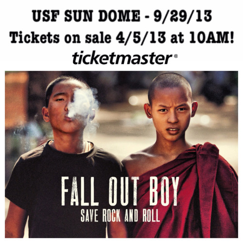 Fall Out Boy is coming to the USF Sun Dome on 9/29! Tickets go on sale 4/5 at 10AM!!
