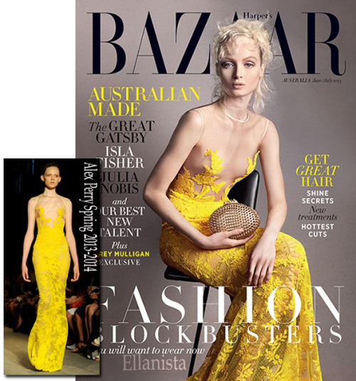 Ash Walker covers the June/July Harper's Bazaar Australia issue wearing a yellow Alex Perry dress.