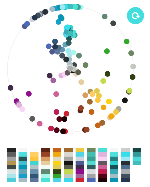 "Color Pickers: The Colors of Dribbble via sidebar.io  ""Our goal for this project is to design a color picker that helps everyone (even your grandma) pick ""better"" color combinations"""