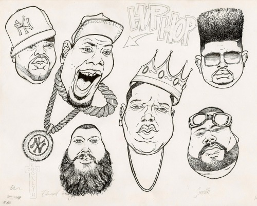 Had this drawing of Biggie so I added some other heavy rappers from New York.