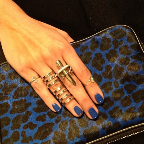 Blue leopard it is!! #leivankash dagger rings & #repossi… Polish 'bleu majorelle' #ysl