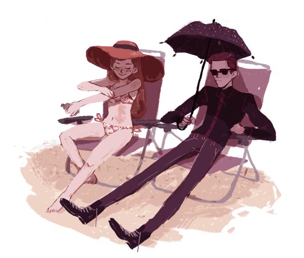 elvishness:  hades and persephone at the beach uwu