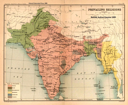 Prevailing Religions of the British Indian Empire in 1909 - #humangeography #religion #southasia