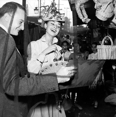 Another photo of Audrey shopping in a Mexican market