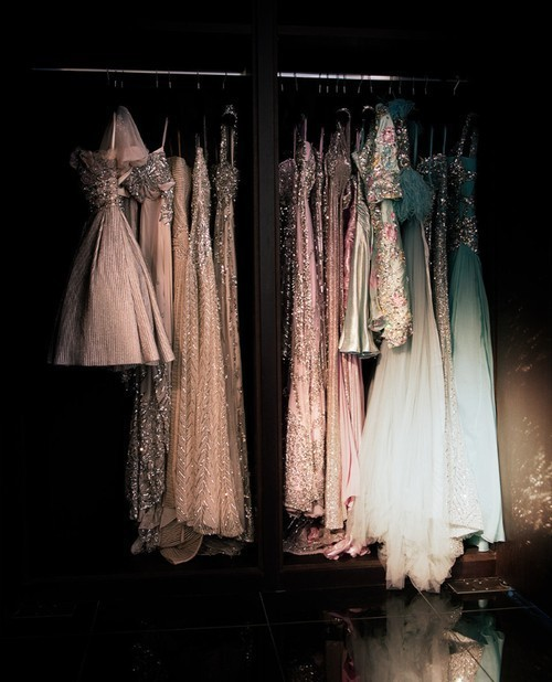 theglitterguide:  Elie Saab closet via Keep Calm and Wear Couture  I want to go to there.