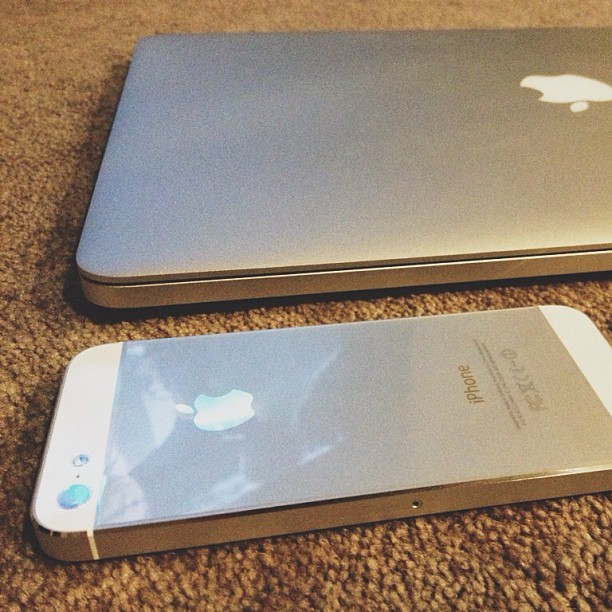 iPhone5 and 15inch retina MacBook Pro.