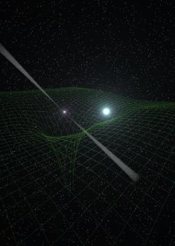 "subatomiconsciousness:  Superdense neutron star, emitting beams of radio waves as a pulsar, center, is closely paired with a compact white-dwarf star. Together, the two provide physicists with an unprecedented natural, cosmic ""laboratory"" for studying the nature of gravity. The grid background illustrates the distortions of spacetime caused by the gravitational effect of the two objects. (Credit: Antoniadis, et al.) Once again, Albert Einstein's General Theory of Relativity, published in 1915, comes out on top. At some point, however, scientists expect Einstein's model to be invalid under extreme conditions. General Relativity, for example, is incompatible with quantum theory. Physicists hope to find an alternate description of gravity that would eliminate that incompatibility. A newly-discovered pulsar — a spinning neutron star with twice the mass of the Sun — and its white-dwarf companion, orbiting each other once every two and a half hours, has put gravitational theories to the most extreme test yet. Observations of the system, dubbed PSR J0348+0432, produced results consistent with the predictions of General Relativity. […] In such a system, the orbits decay and gravitational waves are emitted, carrying energy from the system. By very precisely measuring the time of arrival of the pulsar's radio pulses over a long period of time, astronomers can determine the rate of decay and the amount of gravitational radiation emitted. The large mass of the neutron star in PSR J0348+0432, the closeness of its orbit with its companion, and the fact that the companion white dwarf is compact but not another neutron star, all make the system an unprecedented opportunity for testing alternative theories of gravity. Under the extreme conditions of this system, some scientists thought that the equations of General Relativity might not accurately predict the amount of gravitational radiation emitted, and thus change the rate of orbital decay. Competing gravitational theories, they thought, might prove more accurate in this system. ""We thought this system might be extreme enough to show a breakdown in General Relativity, but instead, Einstein's predictions held up quite well,"" said Paulo Freire, of the Max Planck Institute for Radioastronomy in Germany. That's good news, the scientists say, for researchers hoping to make the first direct detection of gravitational waves with advanced instruments. Researchers using such instruments hope to detect the gravitational waves emitted as such dense pairs as neutron stars and black holes spiral inward toward violent collisions. read more"