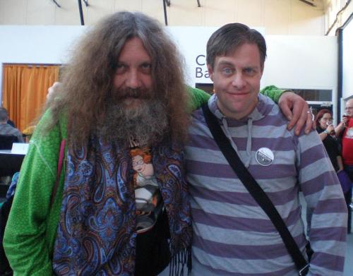 paulcornell:  Me and Alan Moore at NewCon in Northampton a few years back. He was charming, sociable, having cups of tea with everyone.  Photo Credit: @mswalsh