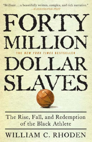 "soulbrotherv2:  Forty Million Dollar Slaves: The Rise, Fall, and Redemption of the Black Athlete From Jackie Robinson to Muhammad Ali and Arthur Ashe, African American athletes have been at the center of modern culture, their on-the-field heroics admired and stratospheric earnings envied. But for all their money, fame, and achievement, says New York Times columnist William C. Rhoden, black athletes still find themselves on the periphery of true power in the multibillion-dollar industry their talent built.Provocative and controversial, Rhoden's $40 Million Slaves weaves a compelling narrative of black athletes in the United States, from the plantation to their beginnings in nineteenth-century boxing rings and at the first Kentucky Derby to the history-making accomplishments of notable figures such as Jesse Owens, Althea Gibson, and Willie Mays. Rhoden makes the cogent argument that black athletes' ""evolution"" has merely been a journey from literal plantations—where sports were introduced as diversions to quell revolutionary stirrings—to today's figurative ones, in the form of collegiate and professional sports programs. Weaving in his own experiences growing up on Chicago's South Side, playing college football for an all-black university, and his decades as a sportswriter, Rhoden contends that black athletes' exercise of true power is as limited today as when masters forced their slaves to race and fight. The primary difference is, today's shackles are often of their own making.Every advance made by black athletes, Rhoden explains, has been met with a knee-jerk backlash—one example being Major League Baseball's integration of the sport, which stripped the black-controlled Negro League of its talent and left it to founder. He details the ""conveyor belt"" that brings kids from inner cities and small towns to big-time programs, where they're cut off from their roots and exploited by team owners, sports agents, and the media. He also sets his sights on athletes like Michael Jordan, who he says have abdicated their responsibility to the community with an apathy that borders on treason."