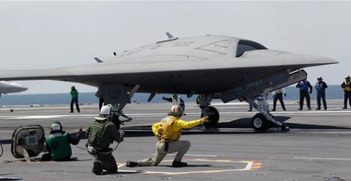 laboratoryequipment:  Unmanned Aircraft Launched from ShipThe Navy, for the first time, launched an unmanned aircraft the size of a fighter jet from a warship in the Atlantic Ocean, as it wades deeper into America's drone program amid growing concerns over the legality of its escalating surveillance and lethal strikes.The drone, called the X-47B, is considered particularly valuable because it's the first that is designed specifically to take off and land on an aircraft carrier, allowing it to be used around the world without needing the permission of other countries to serve as a home base.Read more: http://www.laboratoryequipment.com/news/2013/05/unmanned-aircraft-launched-ship
