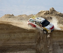 Abu Dhabi Racing's Emirati driver Mohammed al-Sahlawi veers off a cliff during the first stage of the Jordan Rally AFP - Getty Images