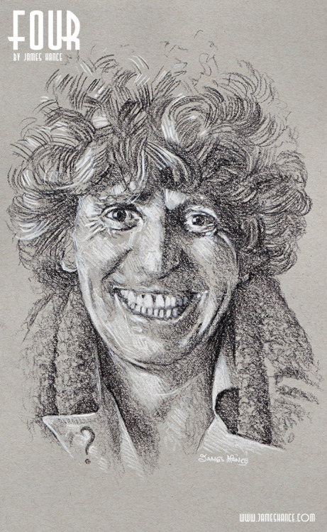 jameshance:  Latest Doodle - 'Four' (Doctor Who - Charcoal) Presenting your Fourth Doctor - The Mighty Tom Baker! The 4th of 11 portraits - 1 a day for the next 7 days. Prints and originals available once the set is complete.  Thanks for your kind words and support, as ever :) xMy site / My Facebook / Original Art on eBay