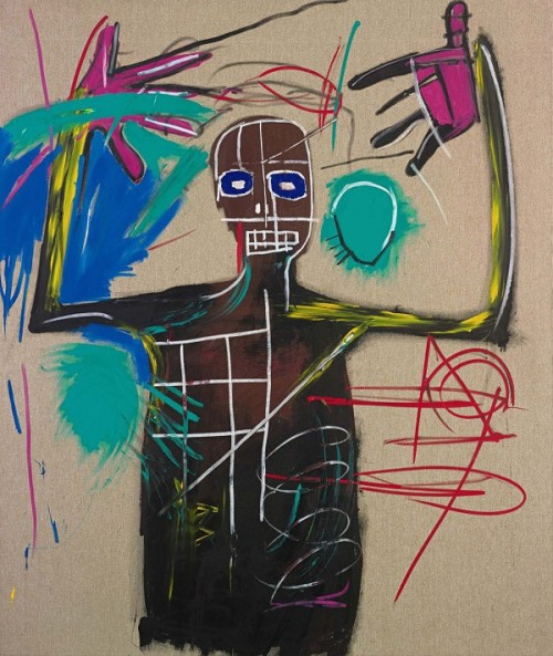 "thesmithian:   The exhibition ""Man Made: Jean-Michel Basquiat"" offers a comprehensive view of his short career, from simple works on paper in marker and crayon from 1979 to large highly-finished canvases from 1987, the year before he died at age 27 of a drug overdose.  more. and more."