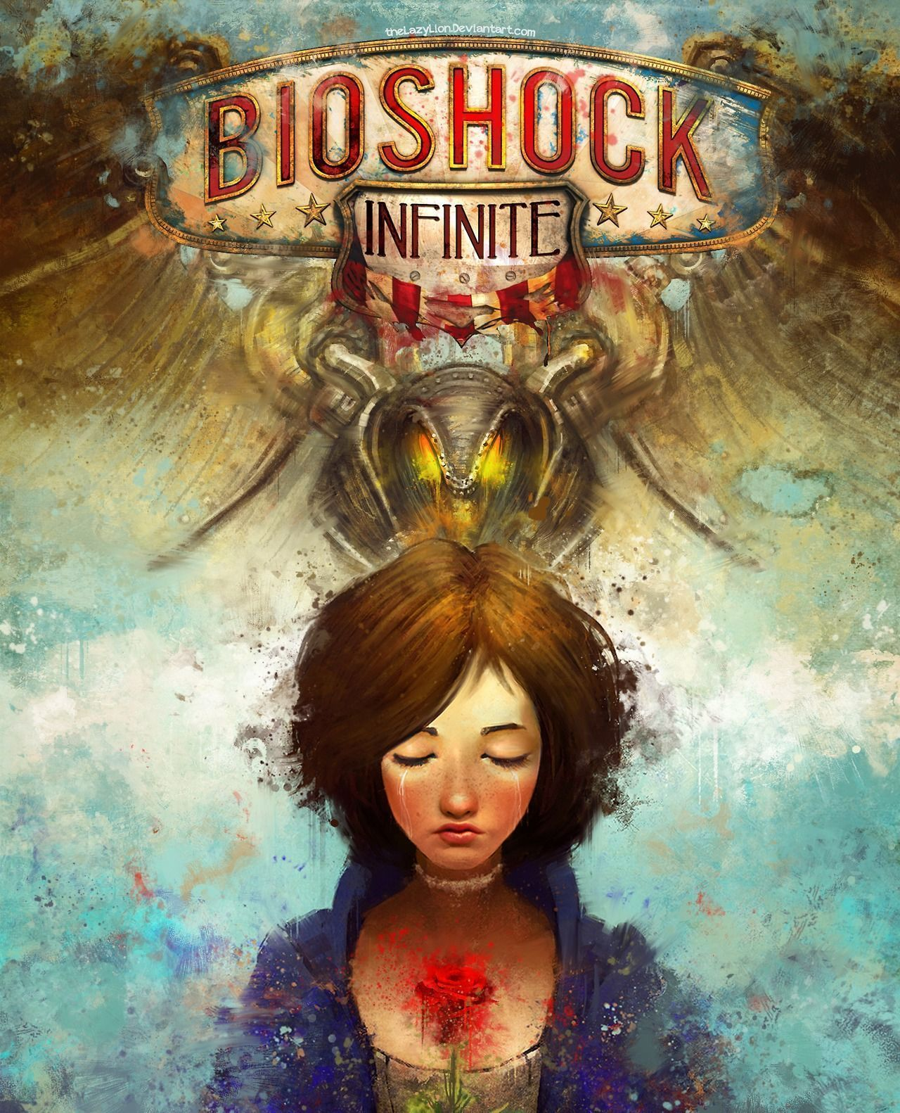 Alternate Bioshock Infinite game cover I painted in Photoshop. Also here's the deviant art link - http://thelazylion.deviantart.com/#/d5omtr5