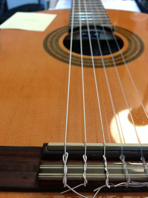 Put new low e strings in two classical guitars today! Not as difficult as one would think. Especially when YouTube helps.