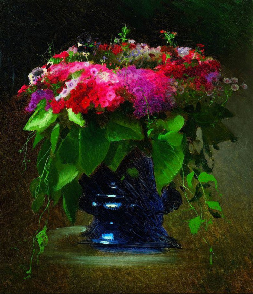 Daily Bouquet.  'Bouquet of Flowers' (1884), Ivan Kramskoy. Still Life, Realism