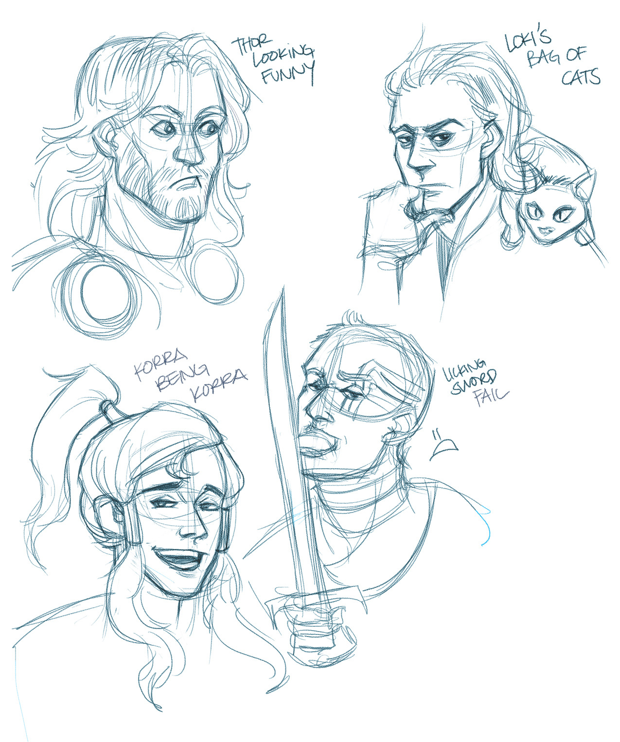 Tonight's doodles. Trying to work on expressions which are just really foreign to me. My favorite is the…top right lol