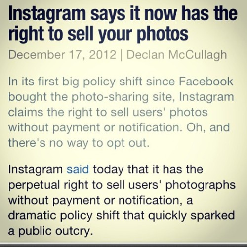Everyone needs to read the new Instagram policies carefully and make their own decision. I will likely only be posting via blog from now on. I don't agree with selling my photos without consent.