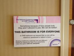 gaymarriageusa:  Gender neutral restroom at the 25th National Conference on LGBT Equality! (Source)