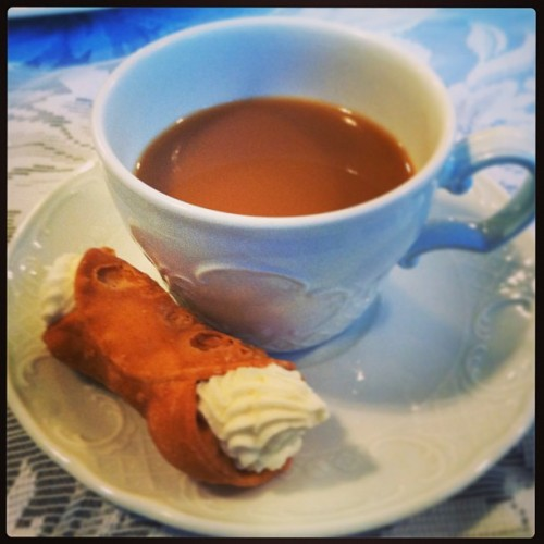 Nothing like coffee and a cannoli on a Monday night #dessert #food #mnd @uscaxo #tsm #sorority