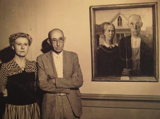 "Grant Wood's original subjects for ""American Gothic"" (1930). lee: American Gothic."